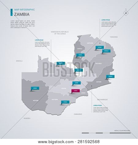 Zambia Vector Map With Infographic Elements, Pointer Marks. Editable Template With Regions, Cities A