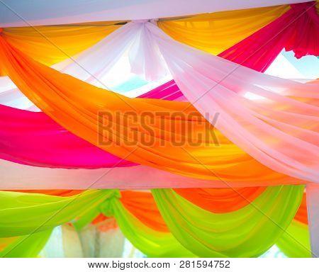 Green Pink Orange White Fabrics Background Pattern