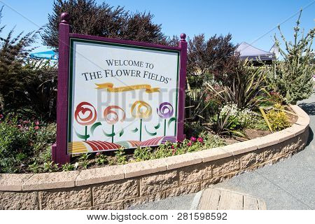Carlsbad, California - May 5 2018: Sign Welcoming Visitors To The Carlsbad Flower Fields, A Popular