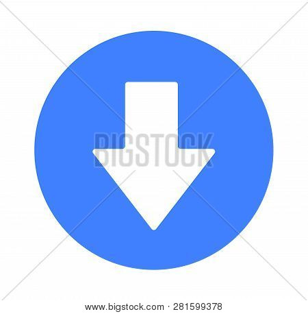 Blue Arrow Icon Close-up, Flat Vector Illustration