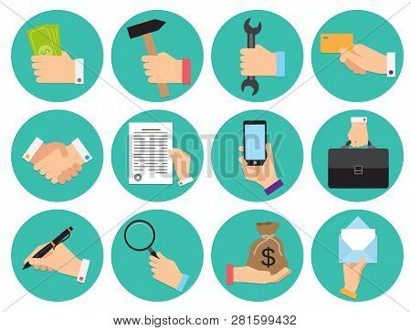 Set Of Different Round Icons Of Business Theme With Hands, Flat Design Vector Illustration