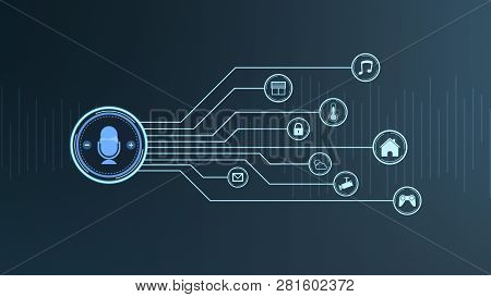 Front View Of A Voice Assistant Device With Iot Icons, Concept Of Smart Home (3d Render)