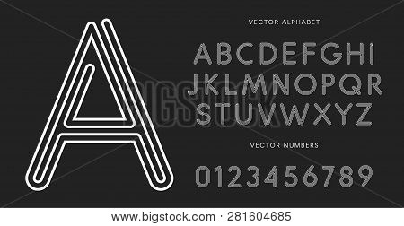 Line Letters And Numbers Set On Black Background. Monochrome Vector Latin Alphabet. Lacing White Fon