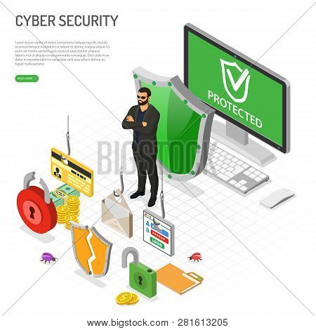 Cyber Security Isometric Concept. Hacking And Phishing. Guard Protects Computer From Hacker Attacks
