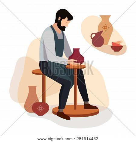 Craftsman Potter Sculpts A Vase Of Clay On The Machine. Vector Illustration Of A Pottery Master At W