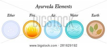 Ether, Fire, Air, Water, Earth, The Five Ayurveda Elements. Vector  Icon Set Illustration On White B