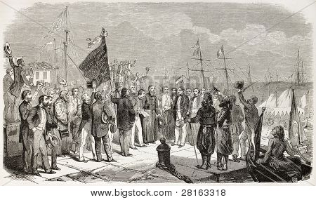 Ferdinand De Lesseps landing in Alexandria, Egypt. (French developer of the Suez Canal). Created by Henri, published on L'Illustration, Journal Universel, Paris, 1858
