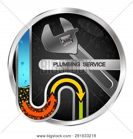Cleaning Of Water Pipes And Plumbing  Sink, Vector