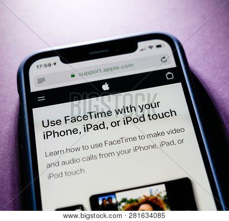 Paris, France - Jan 30, 2018: Apple Iphone Xs With Facetime App Description Of Advantages On The Off