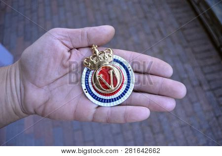 ILLUSTRATIVE EDITORIAL. Insignia of Army of Norway. June 19,2018. Rakkestad,Norway