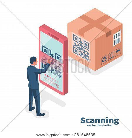 Verification Application. Scanning Qr Code On Mobile Phone. Vector Illustration Isometric Design. Is