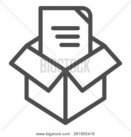 Unpacking Line Icon. Box Unpack Concept Vector Illustration Isolated On White. File Unpacking Outlin