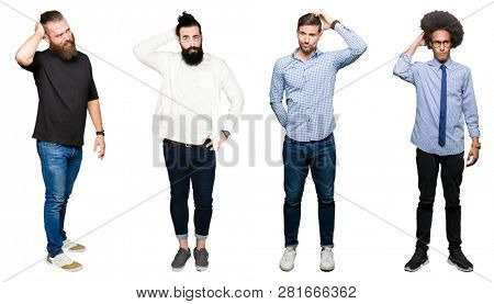 Collage of group of young men over white isolated background confuse and wonder about question. Uncertain with doubt, thinking with hand on head. Pensive concept.