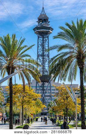 Barcelona, Spain - November 7, 2018: Teleferic Del Port (torre De Jaume I) A Steel Truss Tower, Part
