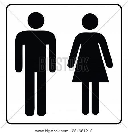 Washroom Sign,restroom Icon In White Background Drawing By Illustration,male Washroom Sign And Femal