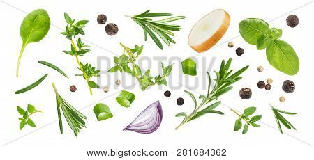 Different Spices And Herbs Isolated On White Background, Top View