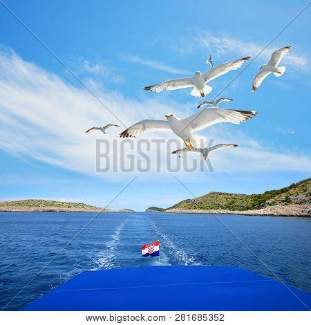 A Flock Of Seagull Flying Behind A Cruise Ship In Kornati National Park, Croatia.