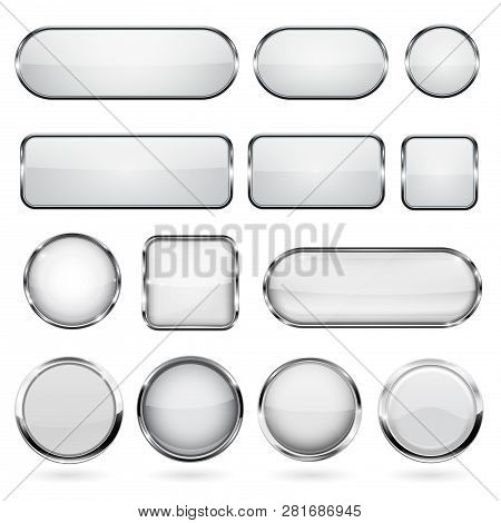 White Glass Buttons With Metal Frame. Collection Of 3d Icons. Vector Illustration Isolated On White
