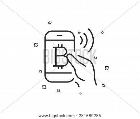 Bitcoin Mobile Pay Line Icon. Cryptocurrency Sign. Crypto Money Symbol. Geometric Shapes. Random Cro