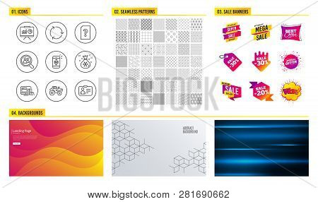 Seamless Pattern. Shopping Mall Banners. Set Of Presentation, Search Employees And Online Payment Ic
