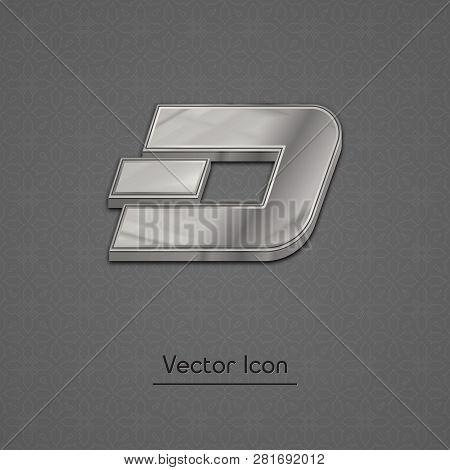 Silver Dash Coin Symbol Isolated Web Vector Icon. Dash Coin Trendy 3d Style Vector Icon. Raised Symb