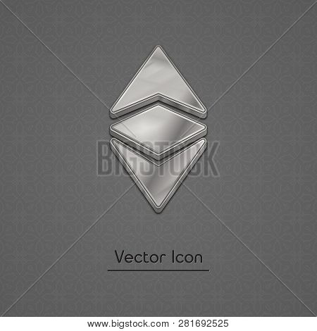 Silver Ethereum Classic Coin Symbol Isolated Web Vector Icon. Ethereum Classic Coin Trendy 3d Style