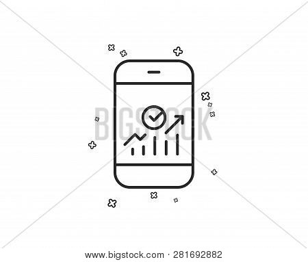 Smartphone Audit Or Statistics Line Icon. Business Analytics With Charts Symbol. Geometric Shapes. R