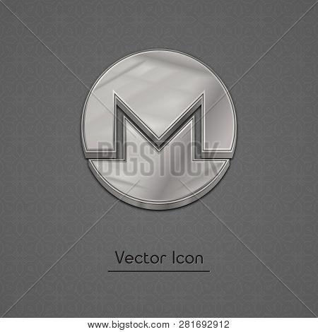 Silver Monero Coin Symbol Isolated Web Vector Icon. Monero Coin Trendy 3d Style Vector Icon. Raised