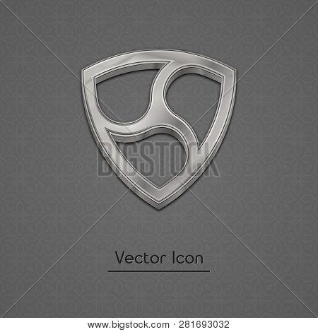 Silver Nem Coin Symbol Isolated Web Vector Icon. Nem Coin Trendy 3d Style Vector Icon. Raised Symbol