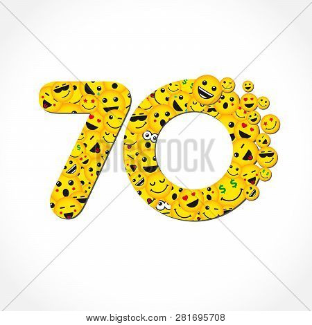 70 Th Years Old Congrats. Isolated Yellow Letter O Logotype. Abstract Web Graphic Symbol Of 70 %. Ve