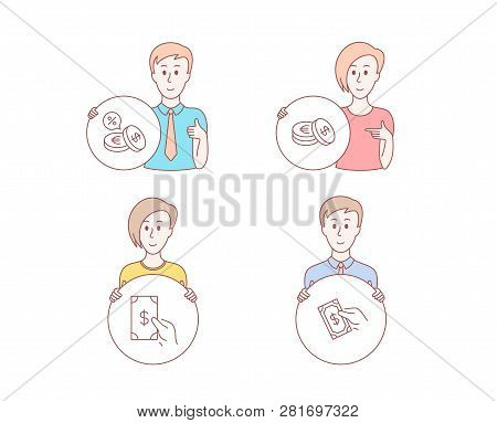 People Hand Drawn Style. Set Of Receive Money, Savings And Currency Exchange Icons. Pay Money Sign.