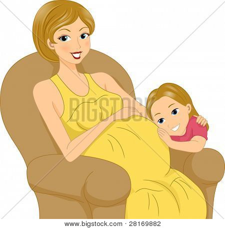 Illustration of a Girl Listening to Her Mother's Tummy