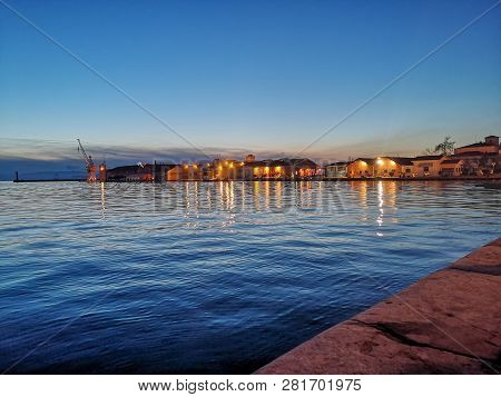 Thessaloniki / Greece Nightscape In The Capital Of Balkans,the Sea Is So Calm And The Weather Is War