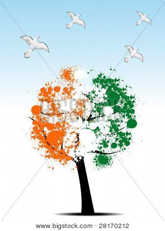 abstract, Tree leafs in national flag colors in orange, white and green with flying pigeons for Republic Day poster