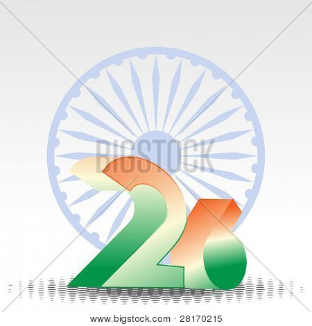3D text of 26 numbers in orange and green color with Asoka wheel on white background for Republic Day. poster