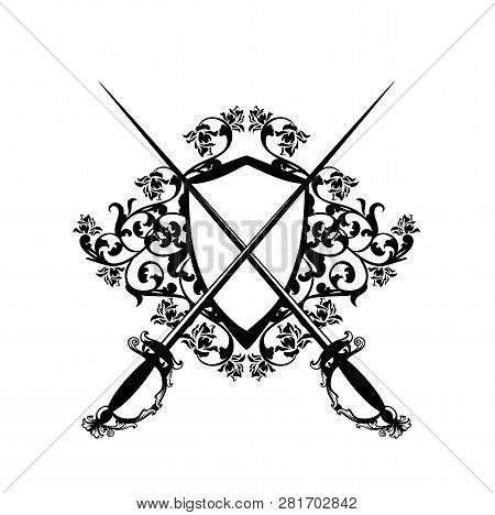 Elegant Heraldic Shield With Crossed Epee Swords And Rose Flowers - Black And White Vector Fencing E