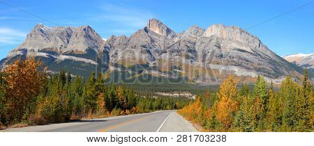 Scenic road Ice fields parkway in Jasper national park