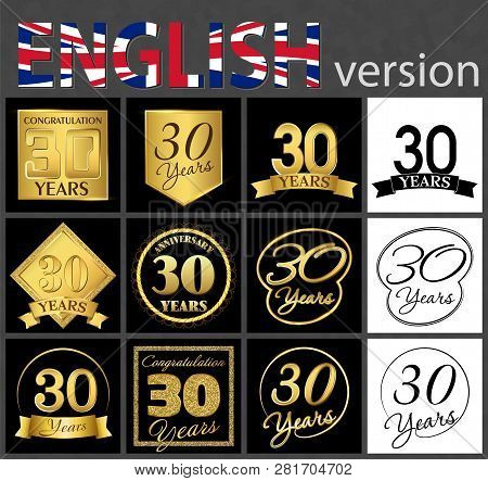Set Of Number 30 Years (thirty Years) Celebration. Anniversary Golden Number Template Elements For Y