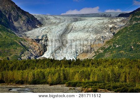 Exit Glacier From Hrading Icefield In Alaska