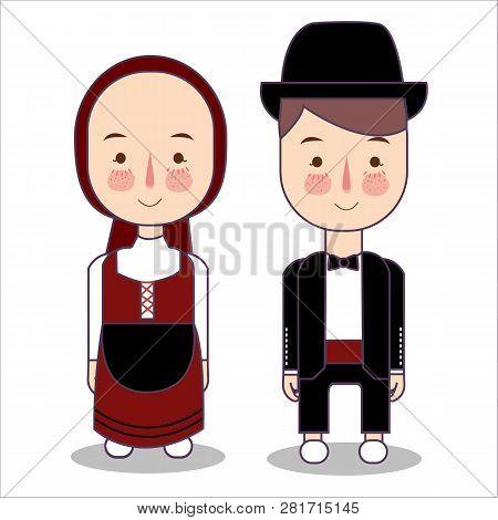 Eurasian Wedding Couple, Cute Traditional Clothes Costume Bride And Groom Cartoon Vector Illustratio