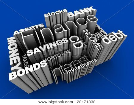 3D illustration of various financial words