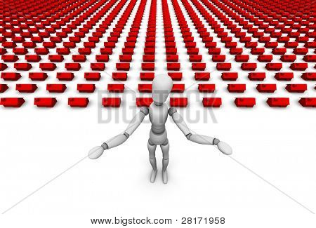 3D illustration of mannequin who is shrugging his shoulders, huge number of houses in background.