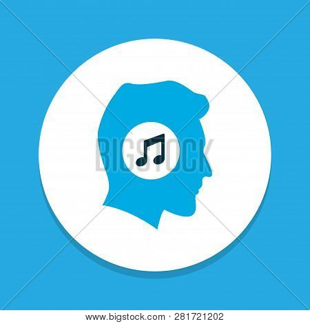 Meloman Icon Colored Symbol. Premium Quality Isolated Music Lover Element In Trendy Style.