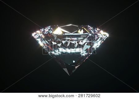 Beautiful Shiny Diamond, Brilliant Isolated On Black Background. Clear Or Transparent Diamonds, Clos