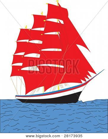 Sailing ship. Beautiful illustration.available in my portfolio.