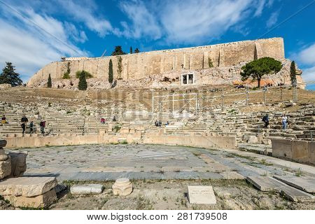 Athens, Greece - November 1, 2017: Theatre Of Dionysus At The Foot Of Acropolis In Athens, Greece. I