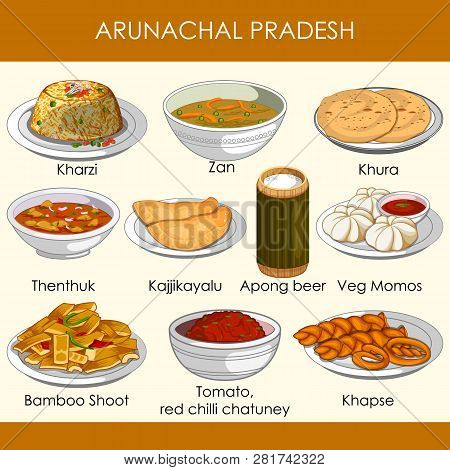 Illustration Of Delicious Traditional Food Of Arunachal Pradesh India