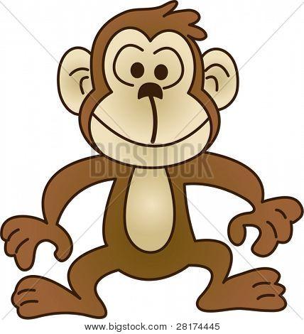Funny monkey - vector illustration. Fully editable, easy color change.