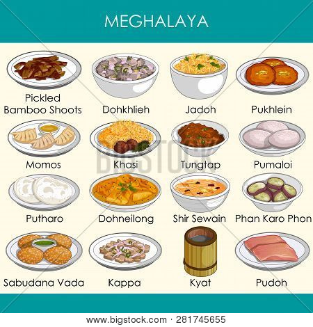 Illustration Of Delicious Traditional Food Of Meghalaya India