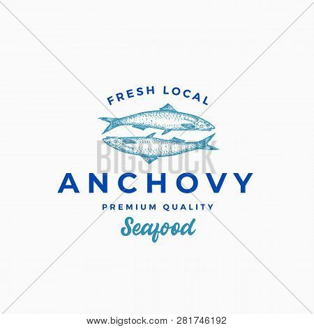 Fresh Local Anchovy Abstract Vector Sign, Symbol Or Logo Template. Hand Drawn Anchovy Fish With Prem